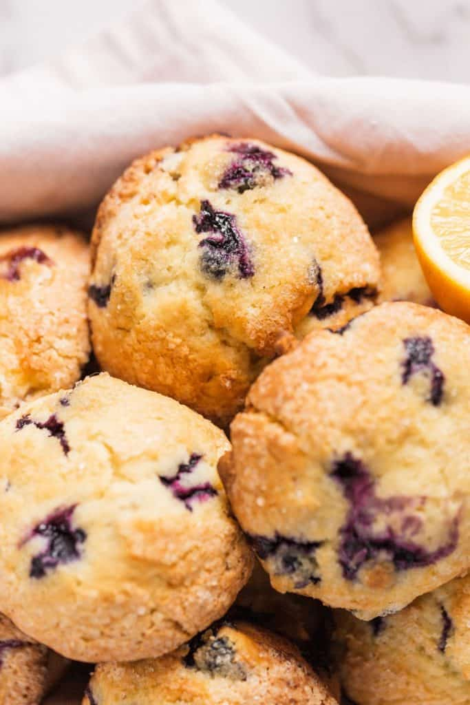 close up of lemon blueberry muffins