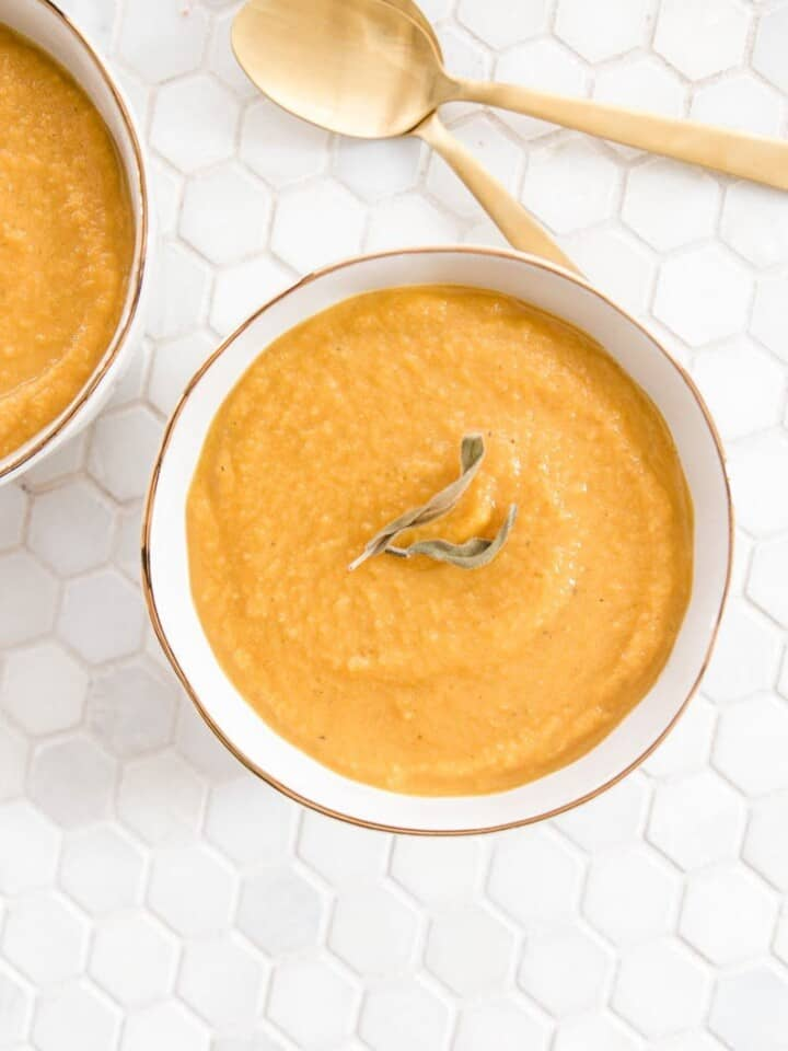 butternut squash soup on a table