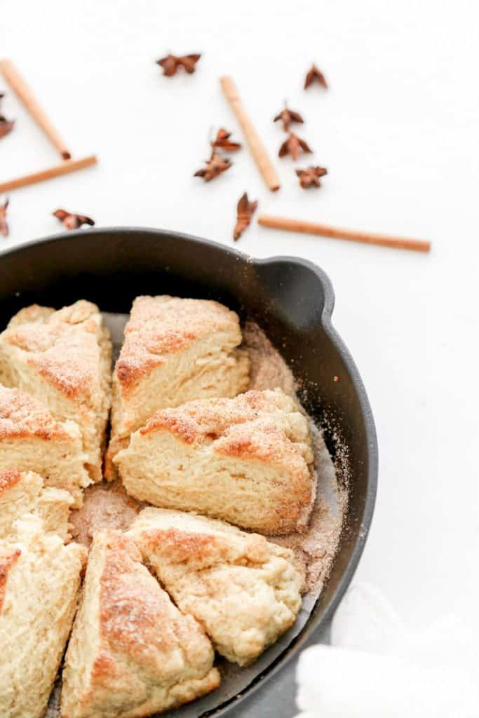 chai infused scones in pan