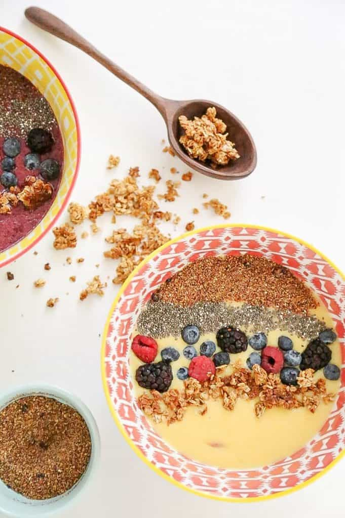 homemade granola in a smoothie bowl