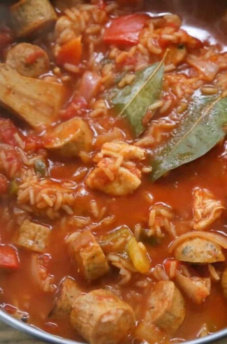 cooked jambalaya close up in a pot