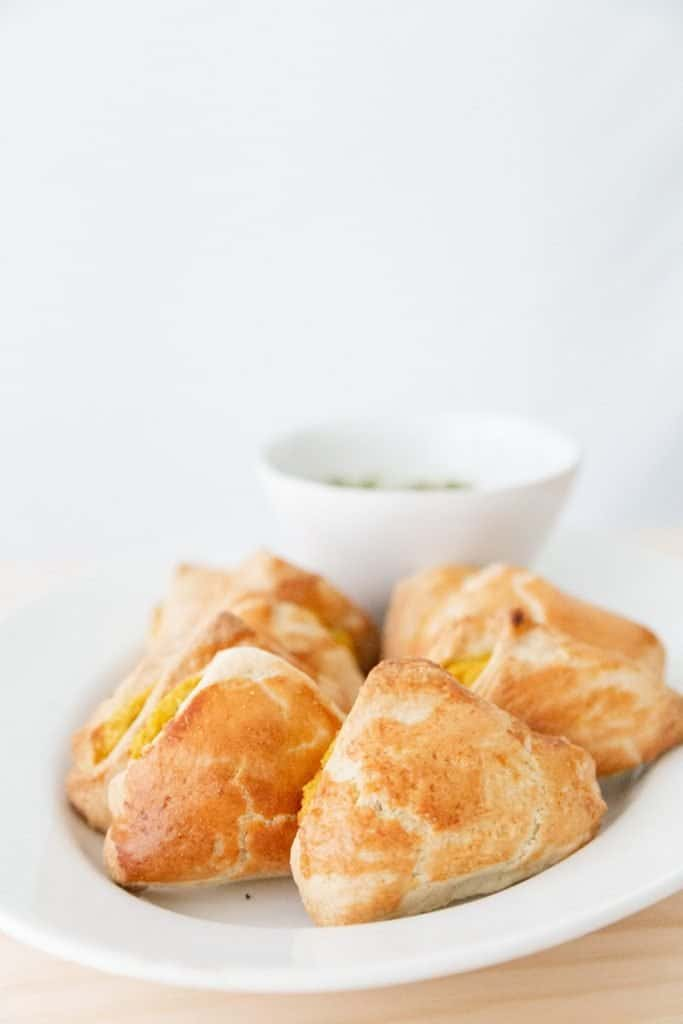 Baked Samosas with Leftover Mashed Potatoes side view