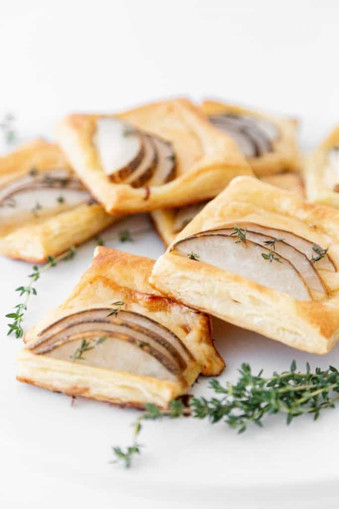 pear and gouda puff pastry close up