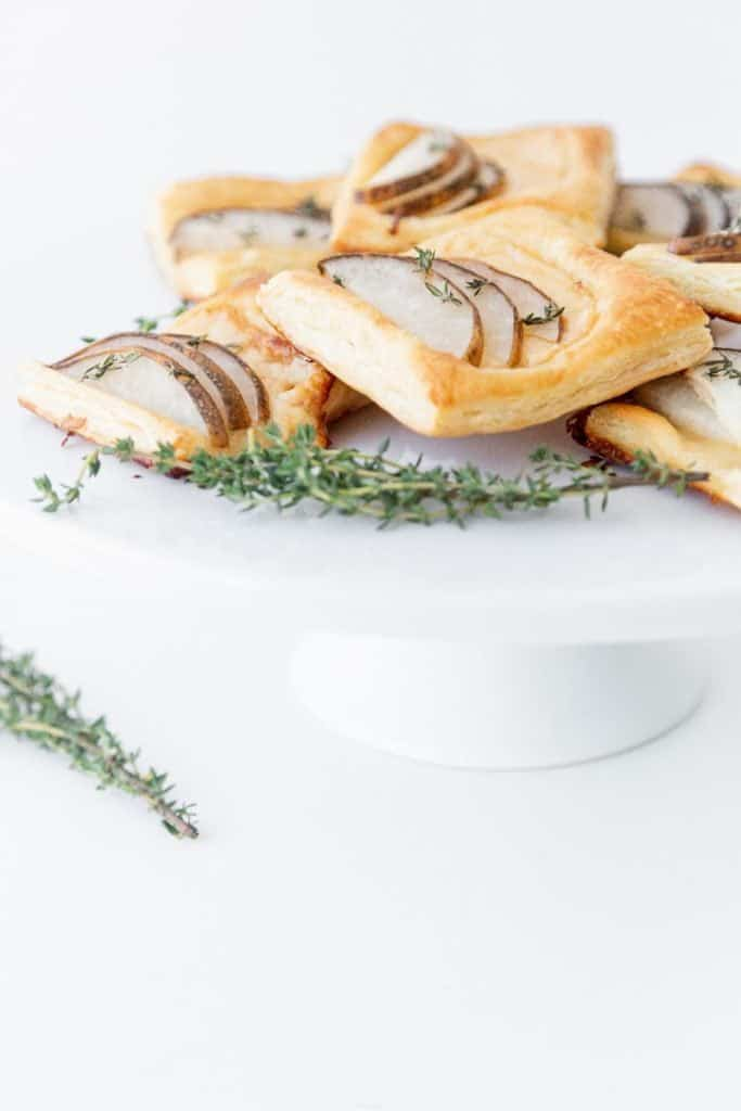 pear and gouda puff pastry side view