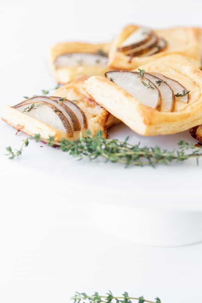 pear and gouda puff pastries close up