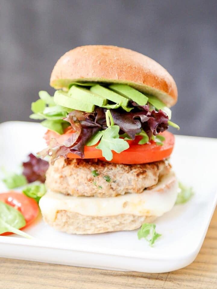 spicy turkey burger on plate
