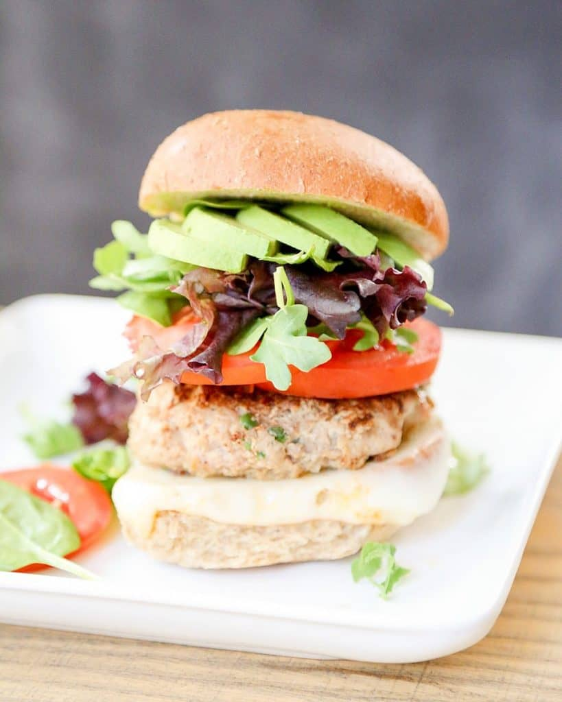 spicy turkey burger on plate