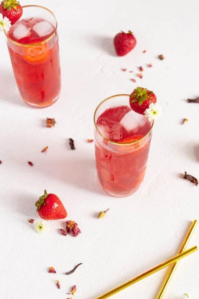 Strawberry iced teas
