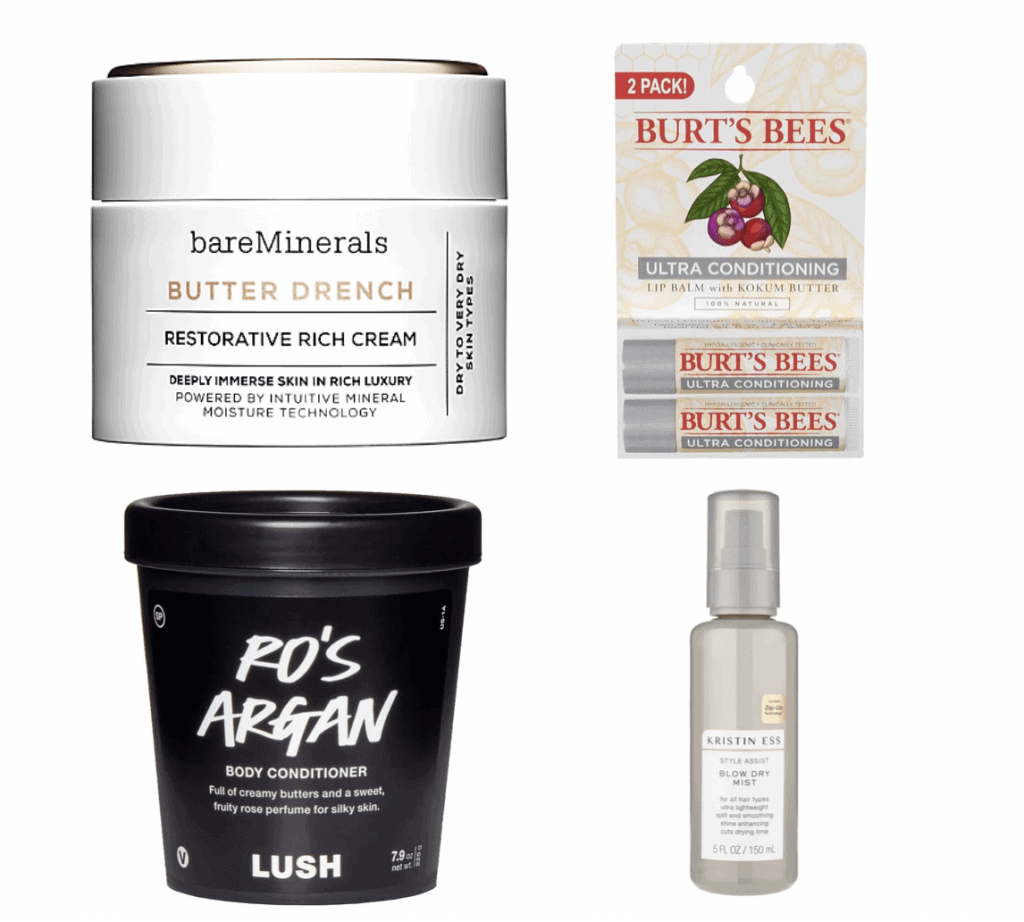 beauty gifts, bare minerals, burts bees, lush, and kristen ess