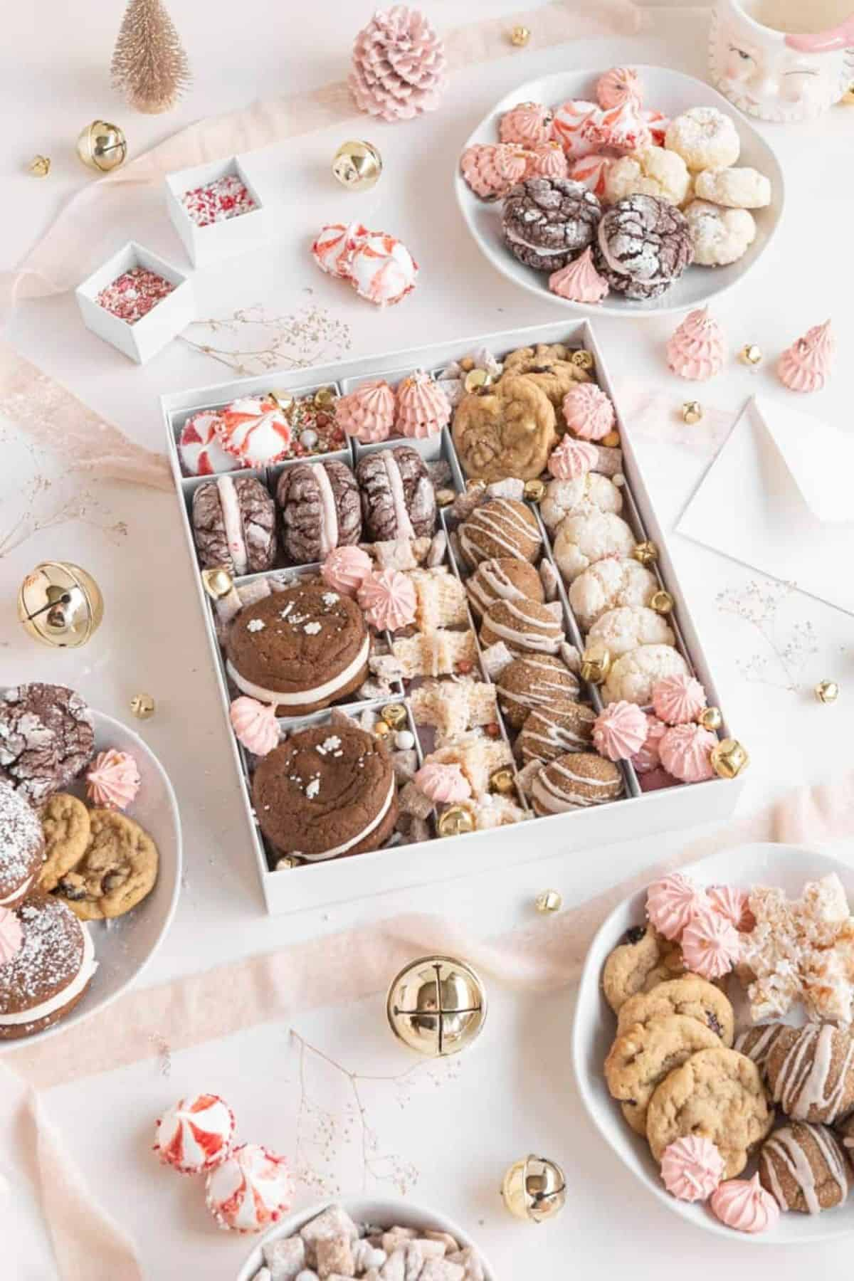 overhead of holiday cookie box with various treats