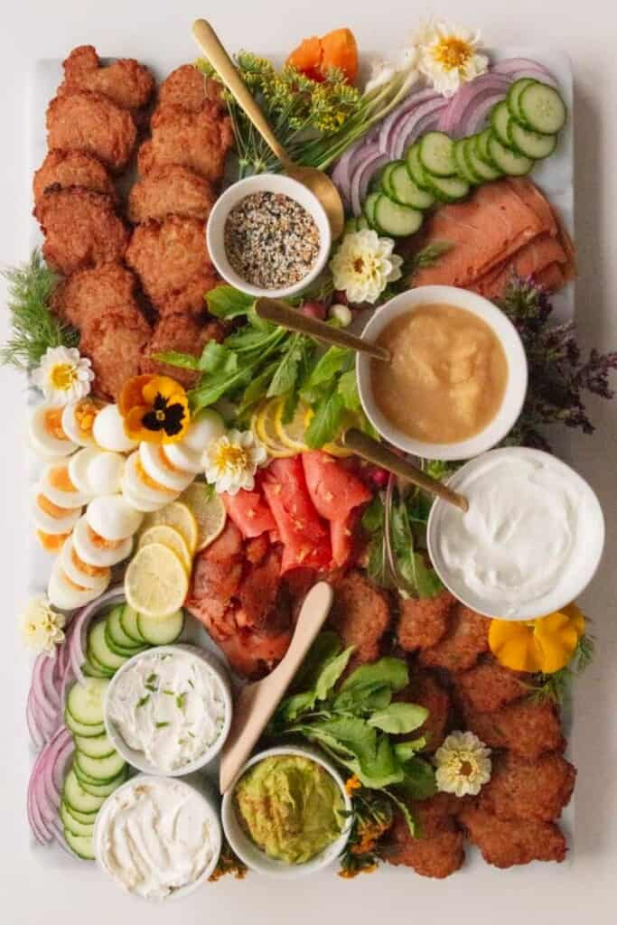latke board with menorah