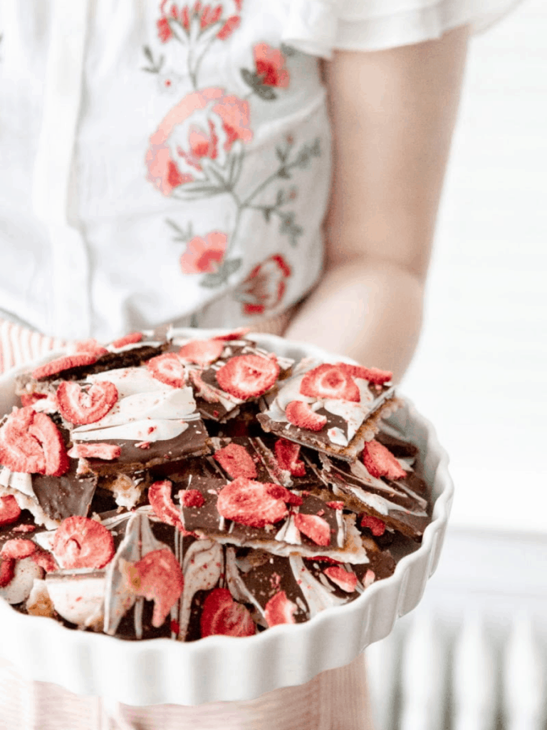matzo toffee with strawberries