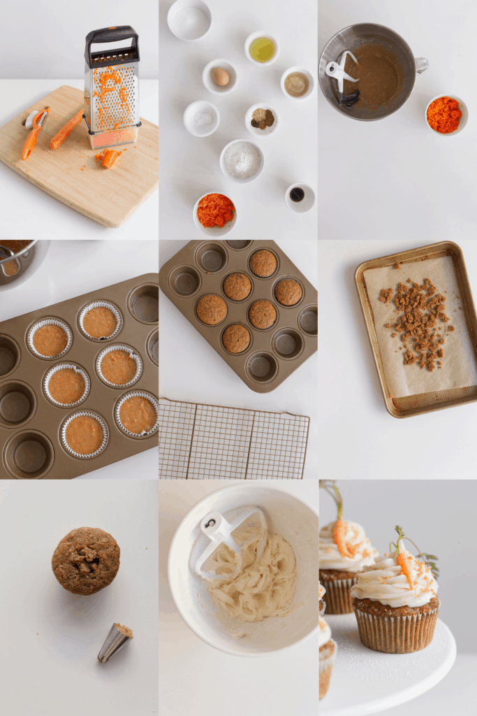 process shots of making spiced cupcakes