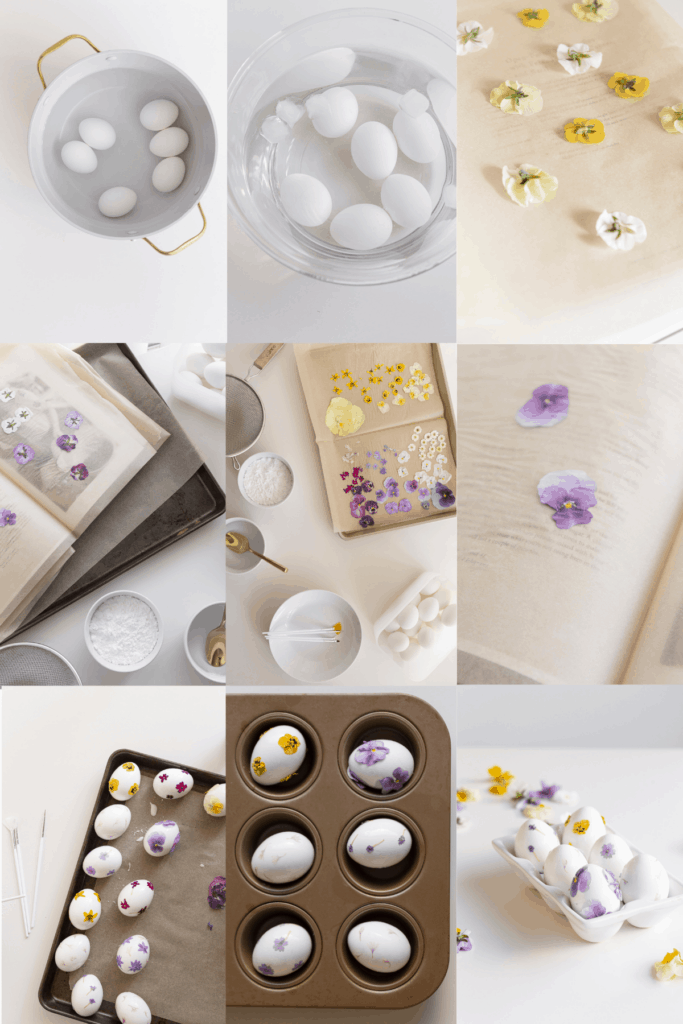 pressed flower craft - process for easter eggs with pressed flowers