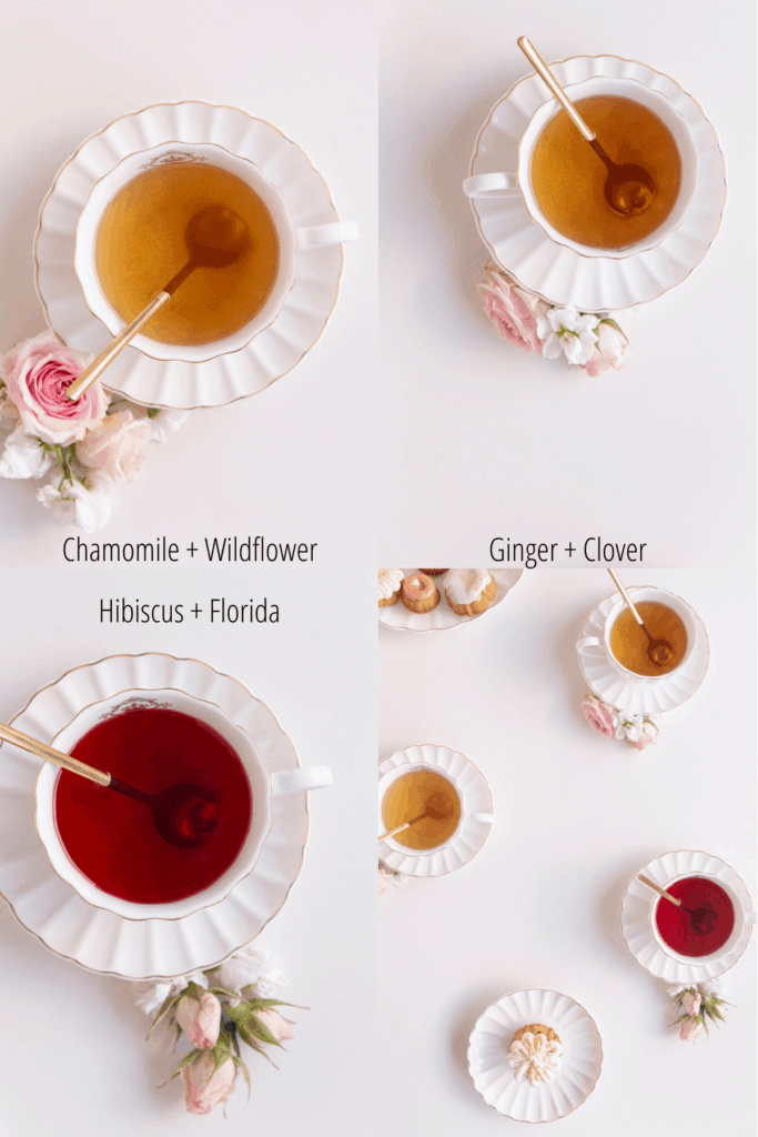 tea pairing - three types of tea with different honey chart