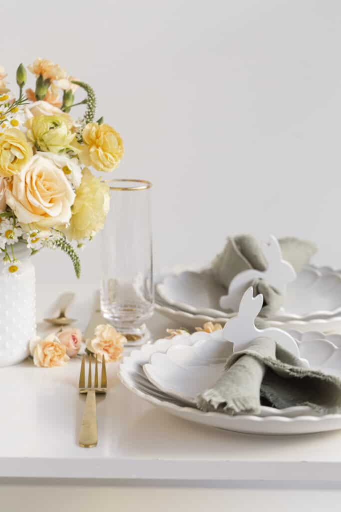 Easter tabletop decor with a rabbit napkin ring