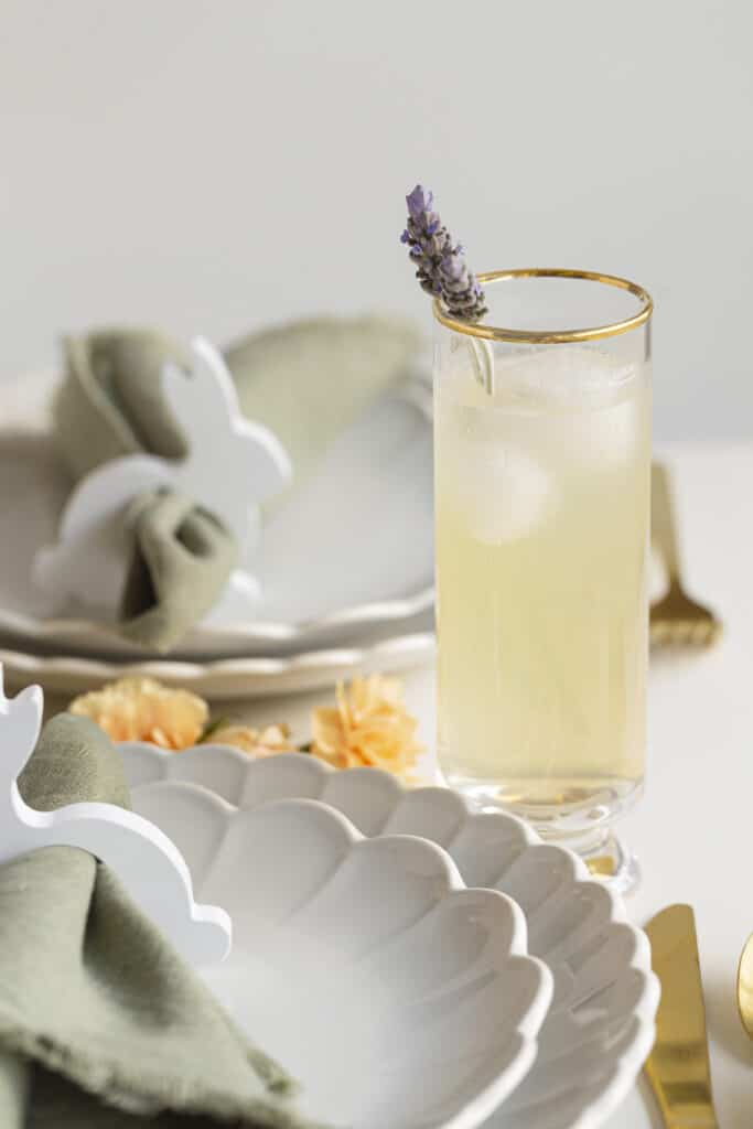 Lavender lemonade vodka cocktail on an easter tablescape