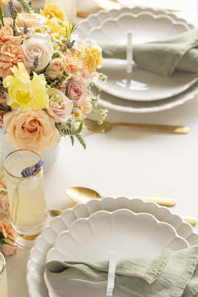 Easter tabletop decor with a pastel color palette