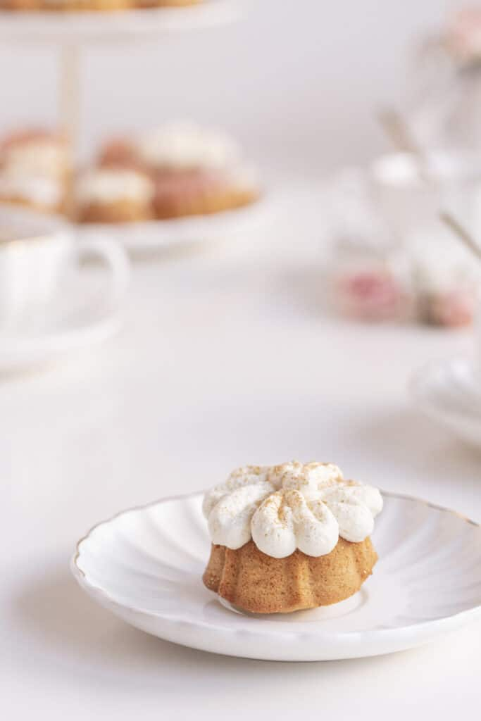 Mini bundt cake with chantilly cream