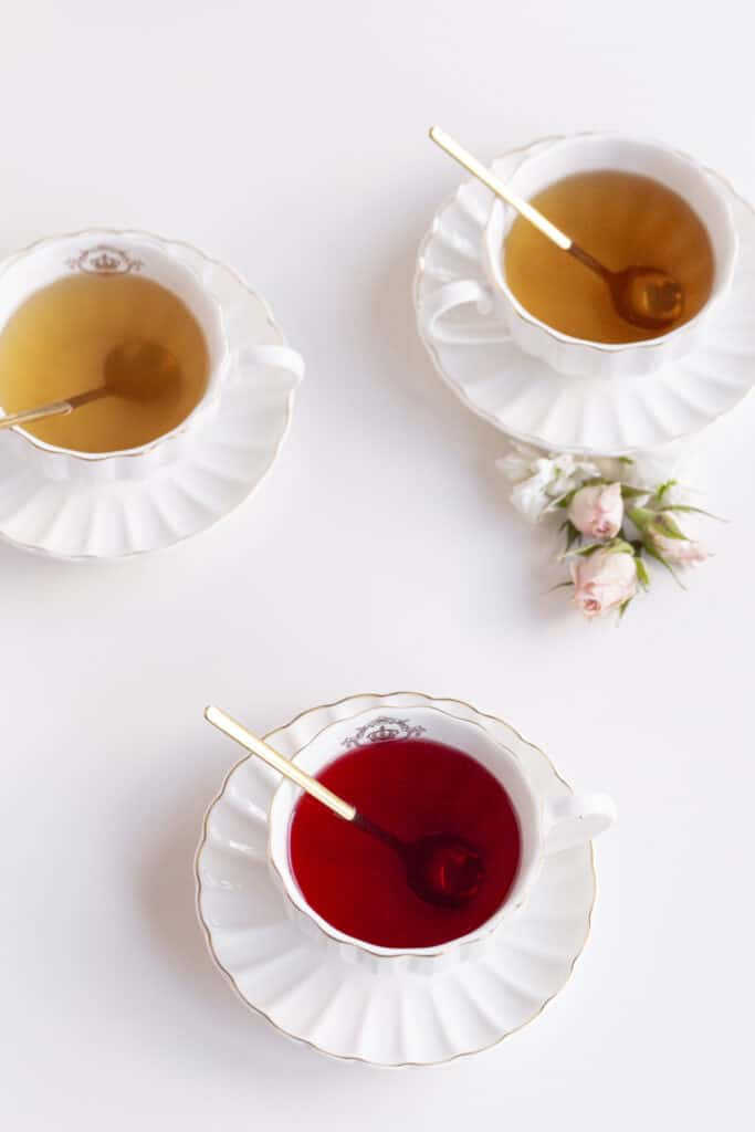 tea time at home with teas in cups and sauces