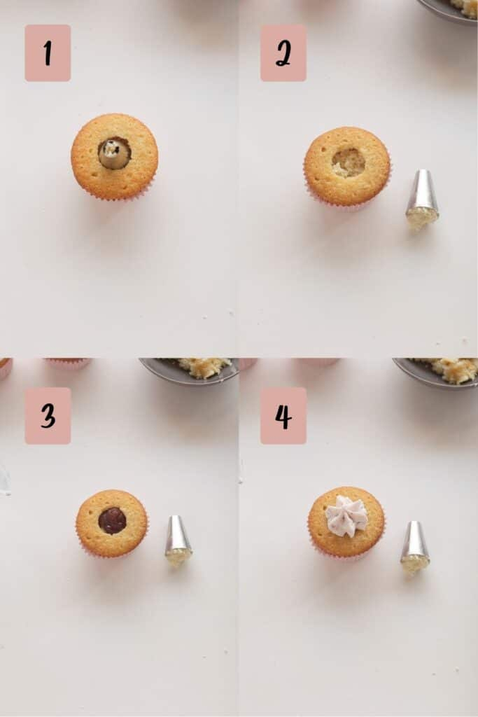process of filling cupcake with strawberry jam