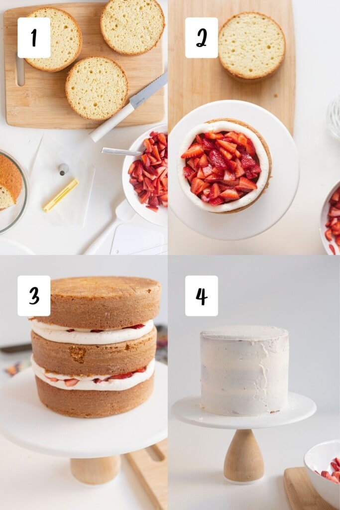 steps for assembling cake layers into a full cake