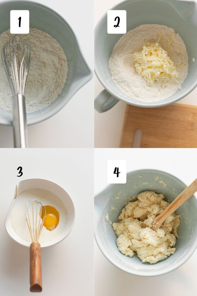 process shots of making scones with grated butter