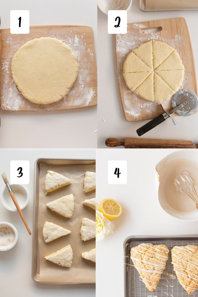 Process shots for shaping and icing lemon scones