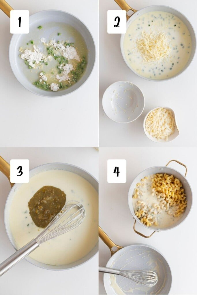 process of making salsa mac and cheese - roux, adding cheese, adding salsa, mixing