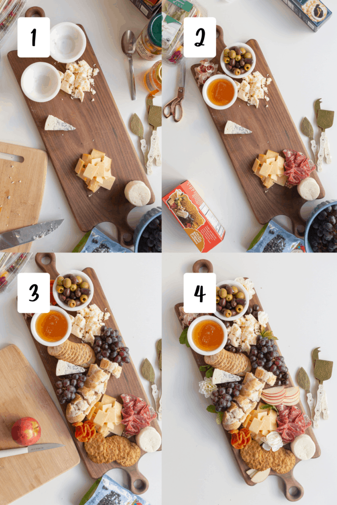 steps for making an easy charcuterie board