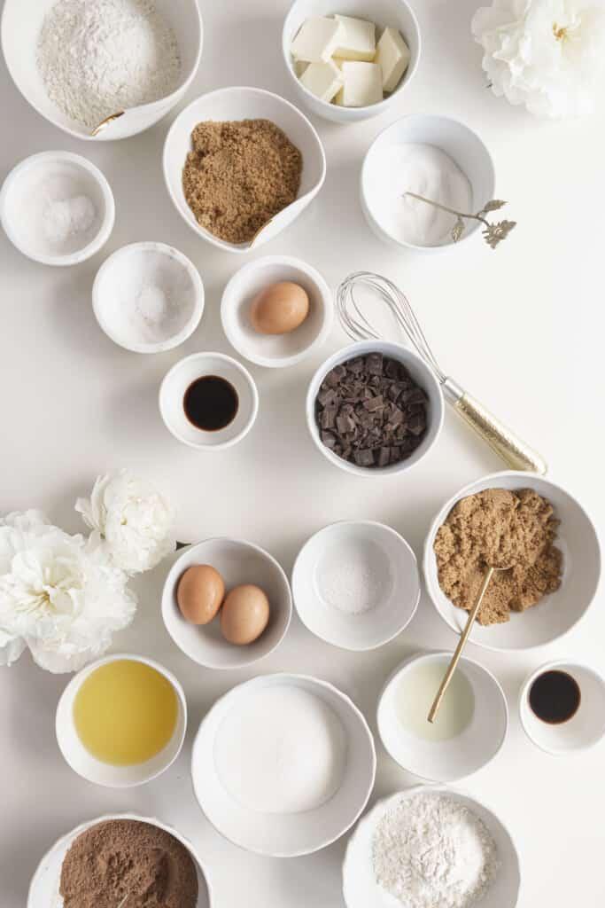 brownies ingredients - cookies and brownie ingredients in bowls