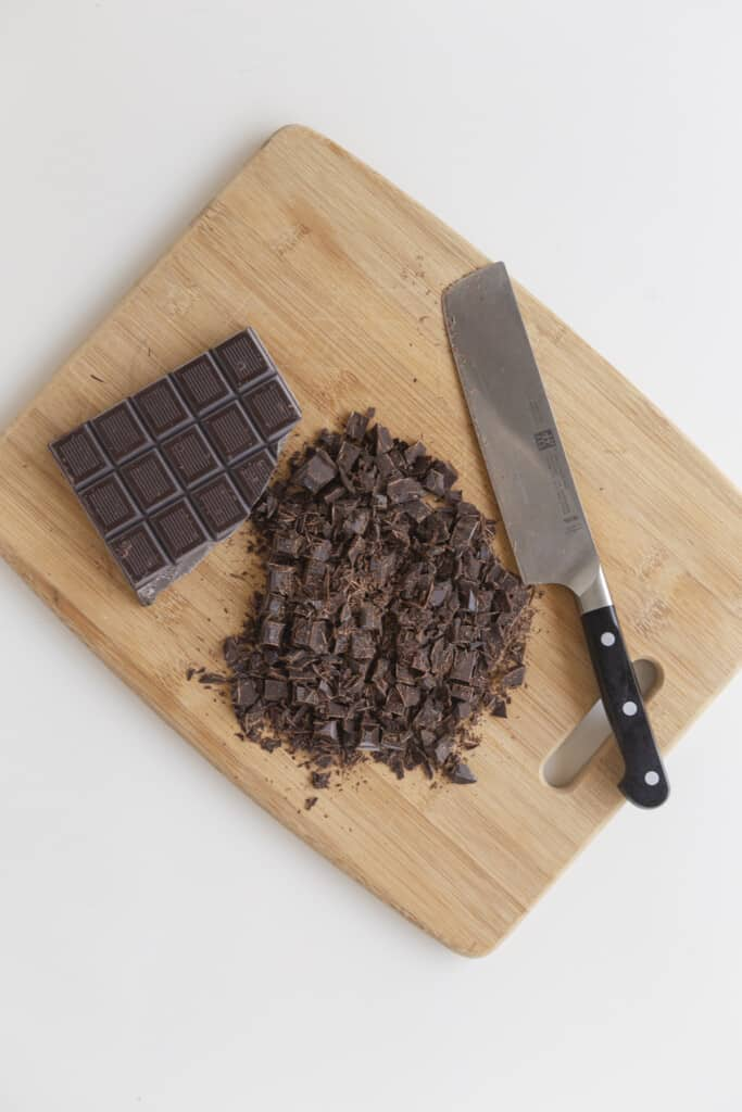 chopped chocolate bar on a cutting board