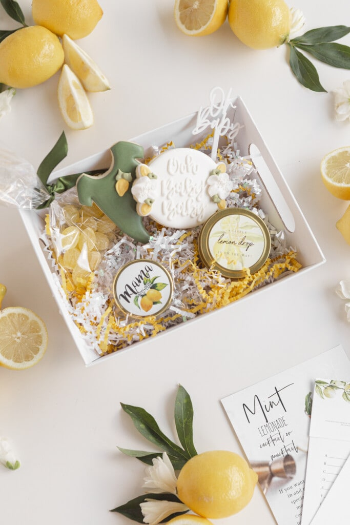 a basket filled with gifts for a virtual baby shower