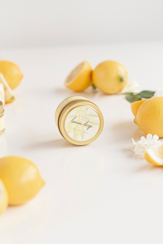 lemon themed baby shower favors candles with other lemons