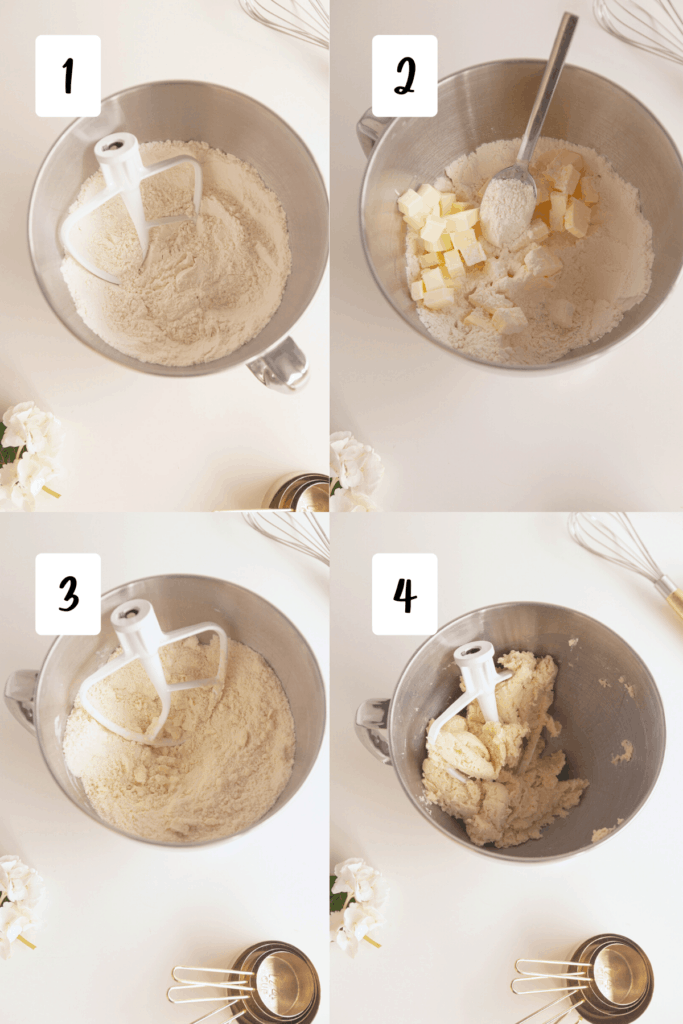 process for making pie dough in four images