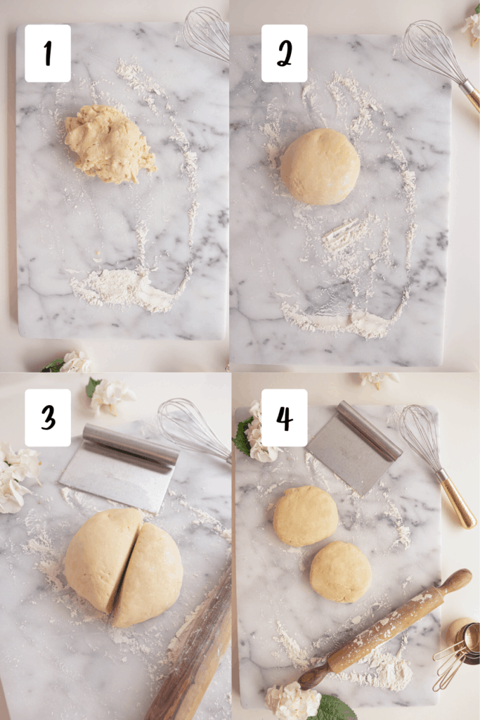 process for balling pie dough and cutting in half